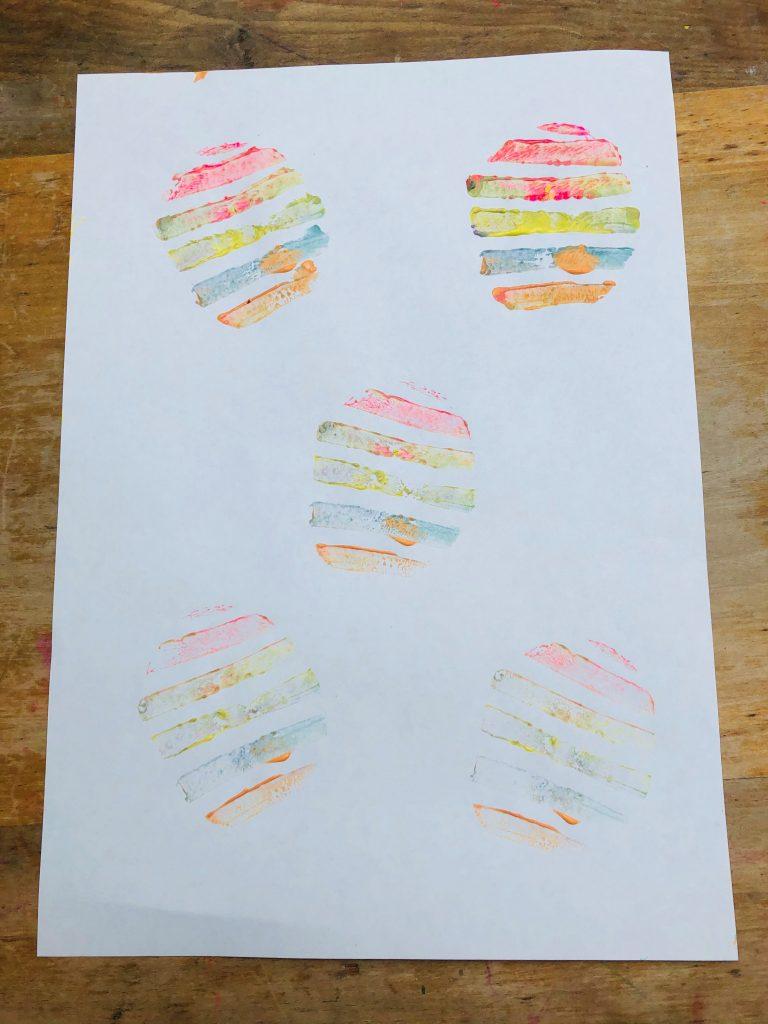 potato prints on paper