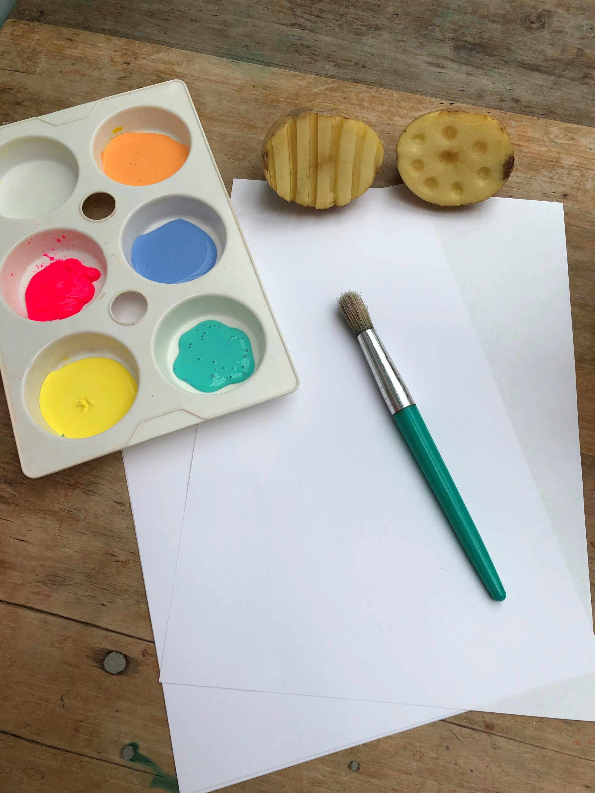 potatoe printing tools including paper, paint and paint brush and potatoes
