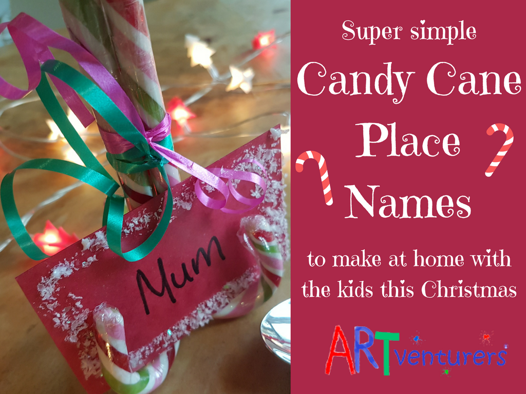 Christmas candy cane place name settings artventurers for Decoration names for christmas