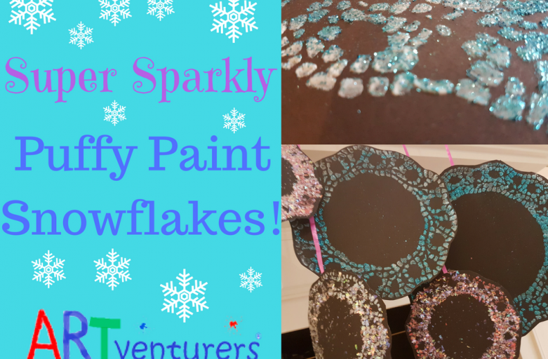 Super Sparkly Puffy Paint Snowflakes!