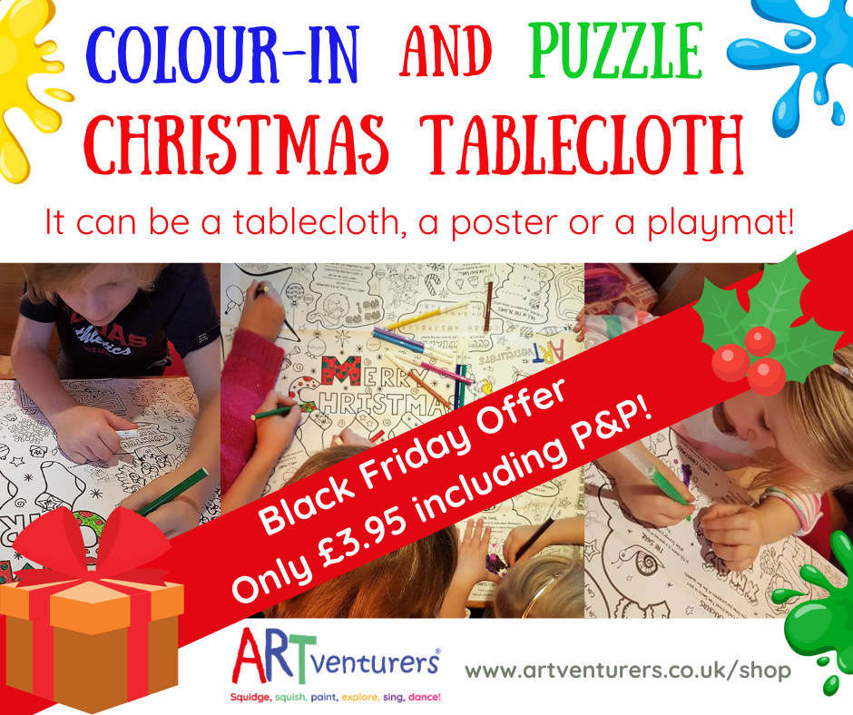**Black Friday Offer!** ARTventurers Colour-in and Puzzle Christmas Tablecloth